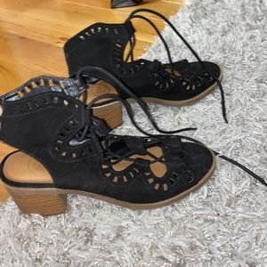 Black lace up 2 inch heels/sandals
